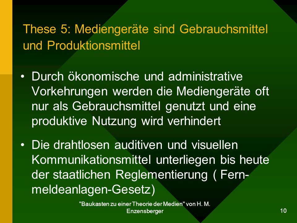 These 5: Mediengeräte sind Gebrauchsmittel und Produktionsmittel