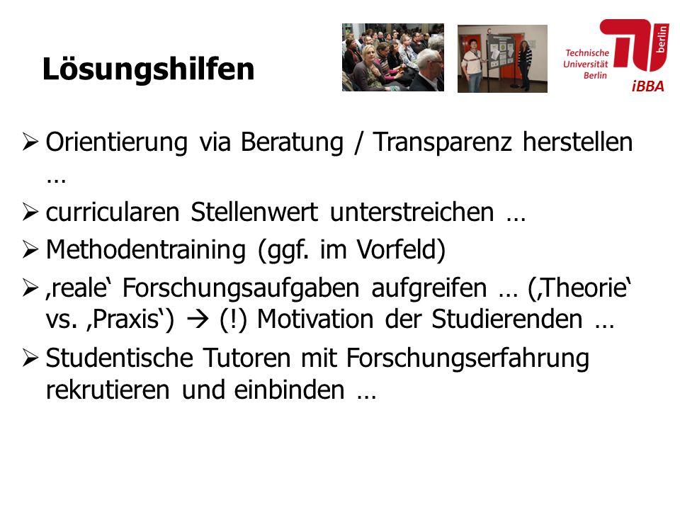 Lösungshilfen Orientierung via Beratung / Transparenz herstellen …
