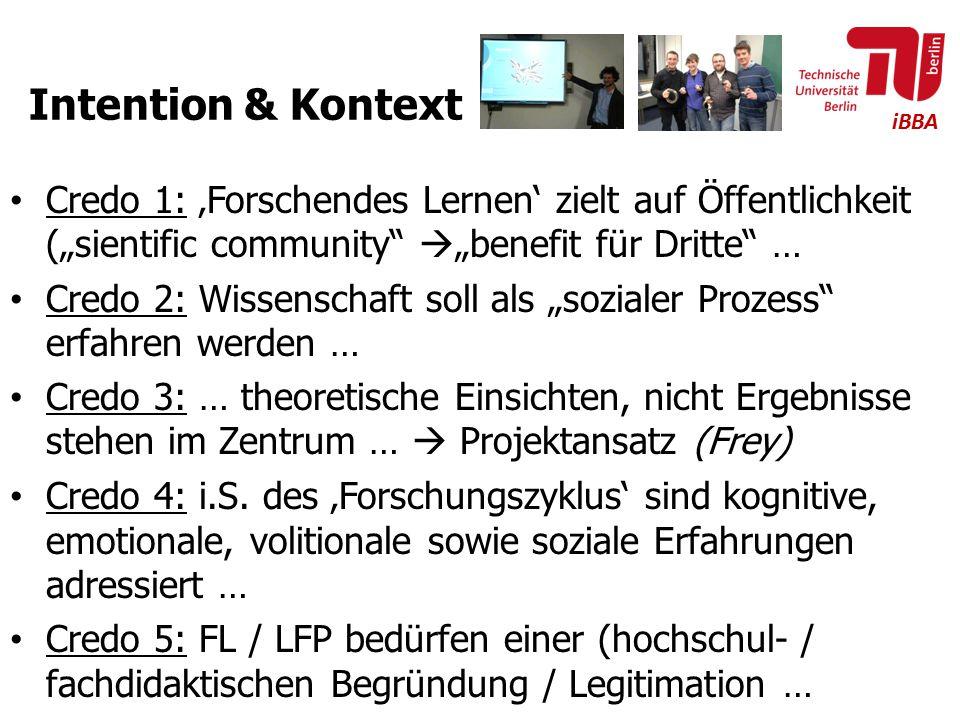 """Intention & Kontext Credo 1: 'Forschendes Lernen' zielt auf Öffentlichkeit (""""sientific community """"benefit für Dritte …"""