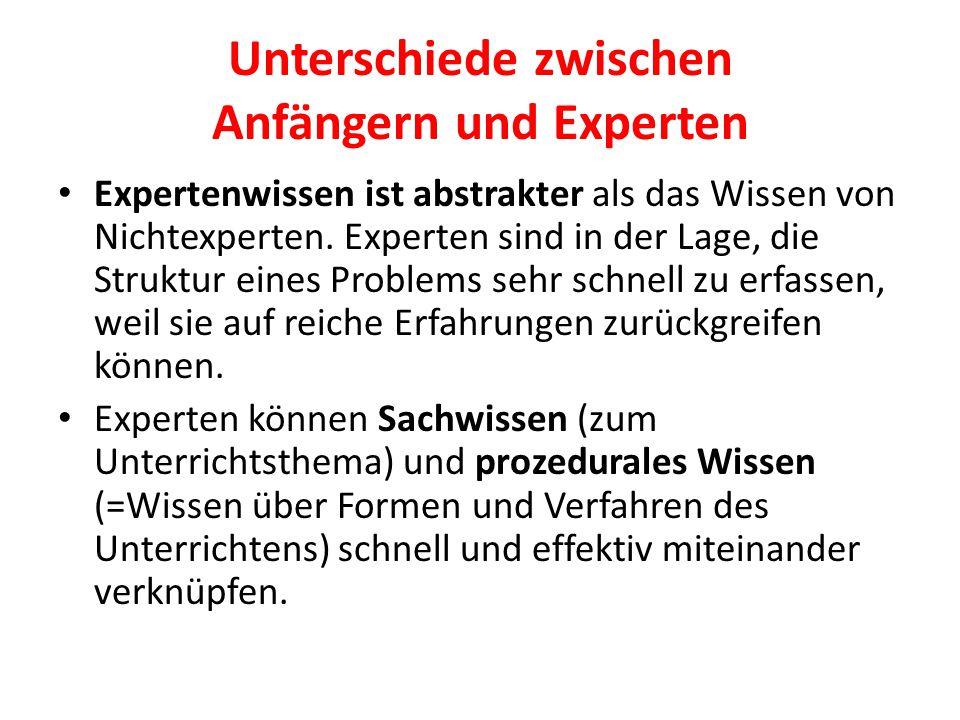 Unterschiede zwischen Anfängern und Experten
