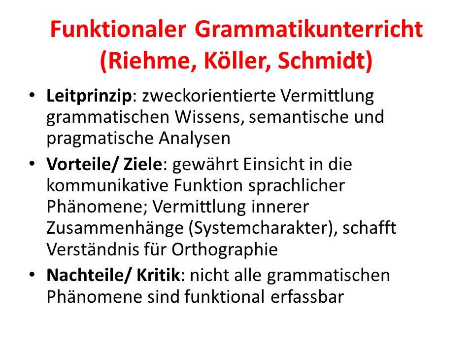 Funktionaler Grammatikunterricht (Riehme, Köller, Schmidt)