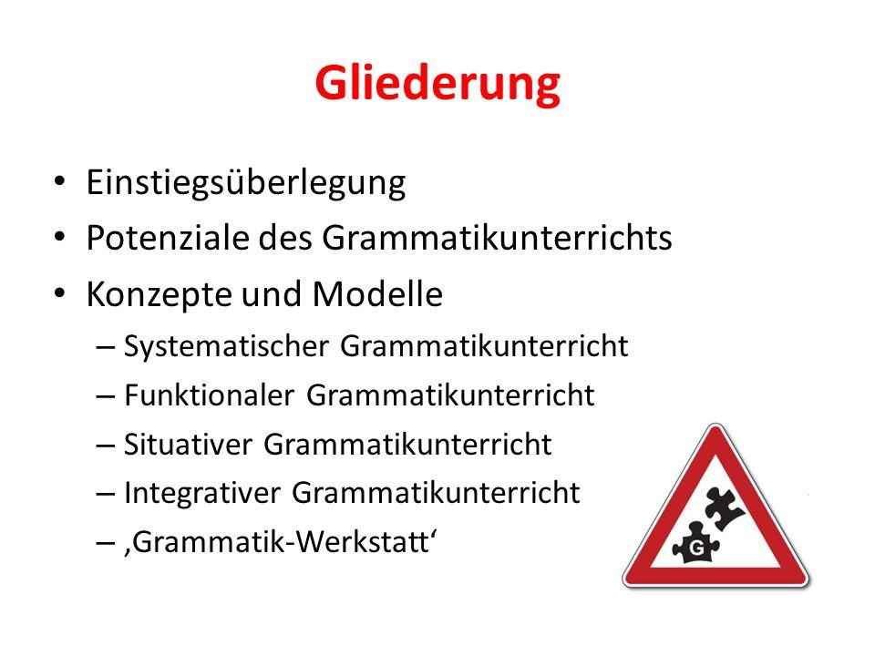 Gliederung Einstiegsüberlegung Potenziale des Grammatikunterrichts