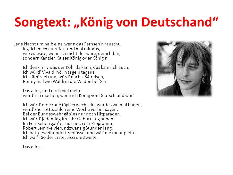 """Songtext: """"König von Deutschand"""