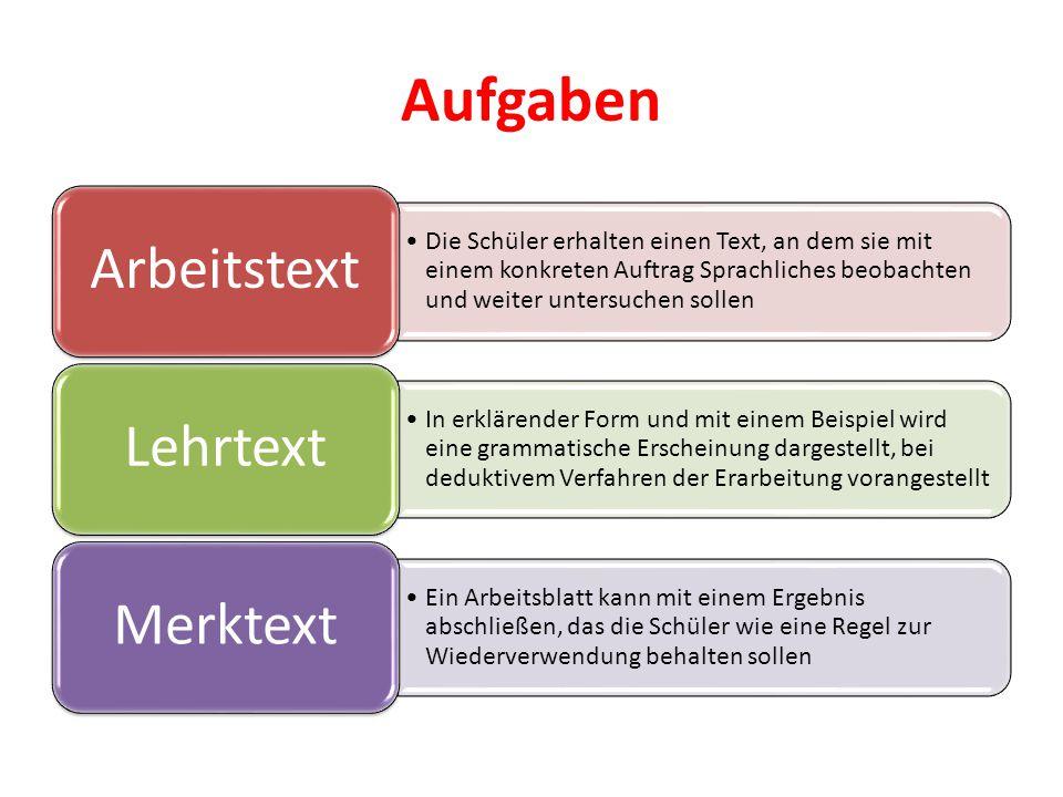 Aufgaben Arbeitstext. Die Schüler erhalten einen Text, an dem sie mit einem konkreten Auftrag Sprachliches beobachten und weiter untersuchen sollen.
