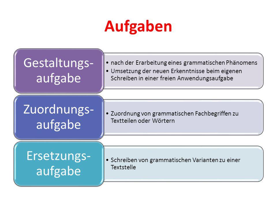 Aufgaben Gestaltungs- aufgabe. nach der Erarbeitung eines grammatischen Phänomens.