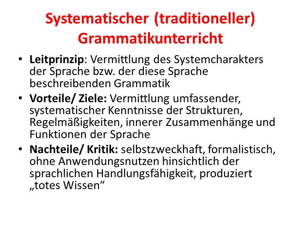 Systematischer (traditioneller) Grammatikunterricht