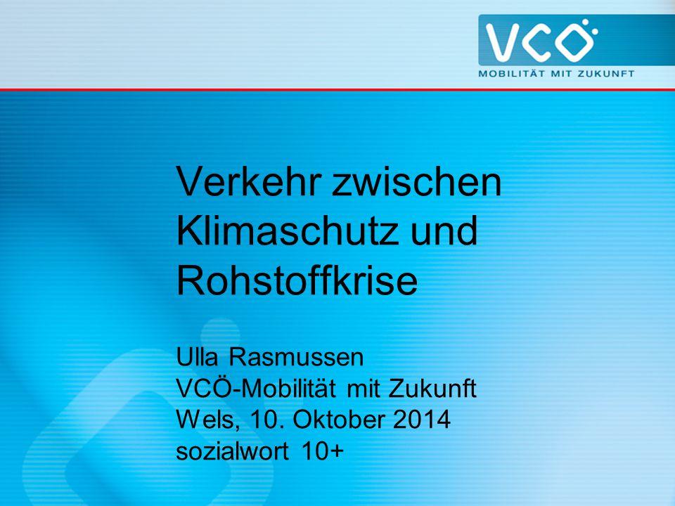 Verkehr zwischen Klimaschutz und Rohstoffkrise Ulla Rasmussen VCÖ-Mobilität mit Zukunft Wels, 10.