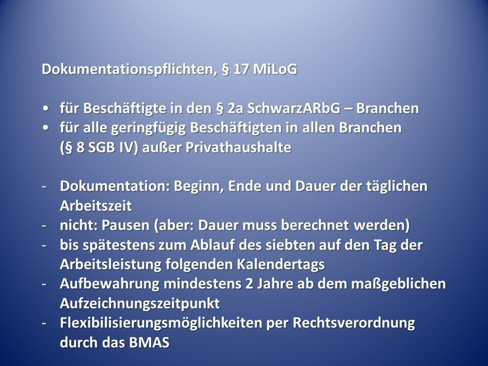 Dokumentationspflichten, § 17 MiLoG