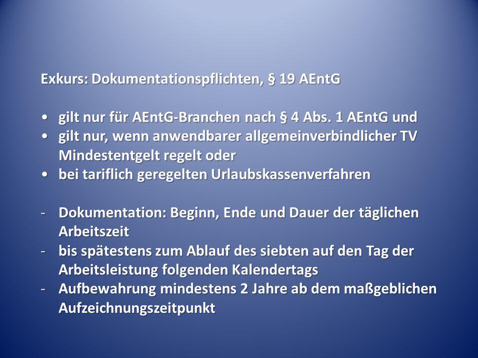 Exkurs: Dokumentationspflichten, § 19 AEntG