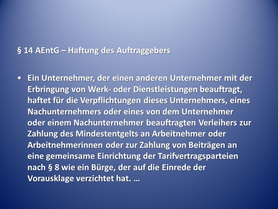 § 14 AEntG – Haftung des Auftraggebers