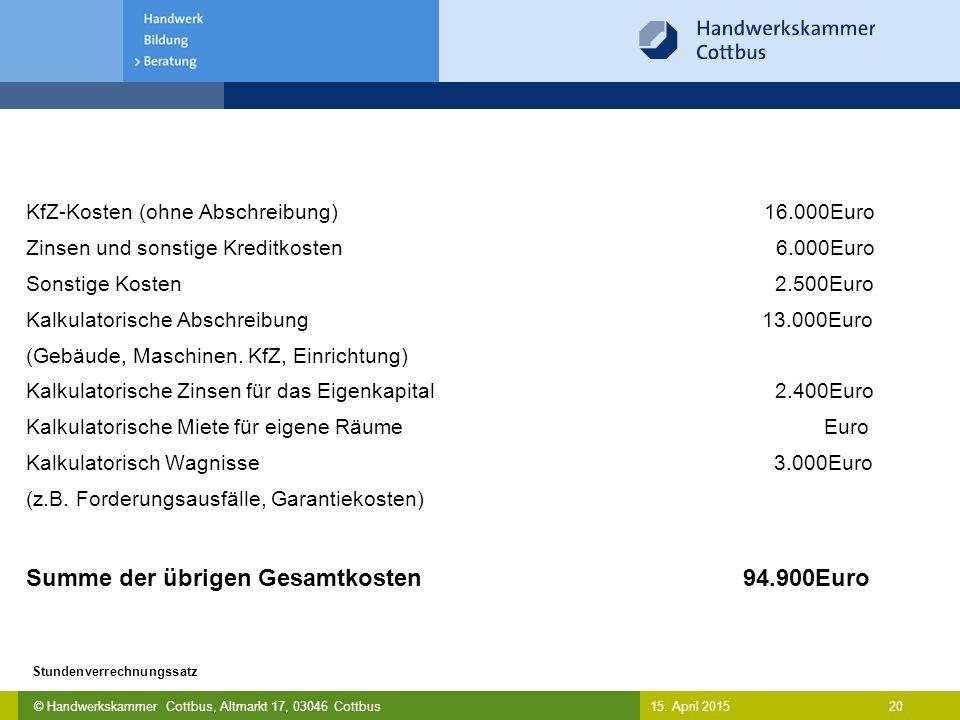 Summe der übrigen Gesamtkosten 94.900Euro