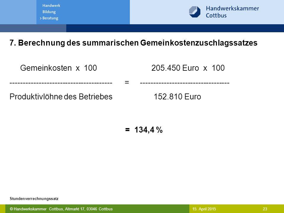 7. Berechnung des summarischen Gemeinkostenzuschlagssatzes