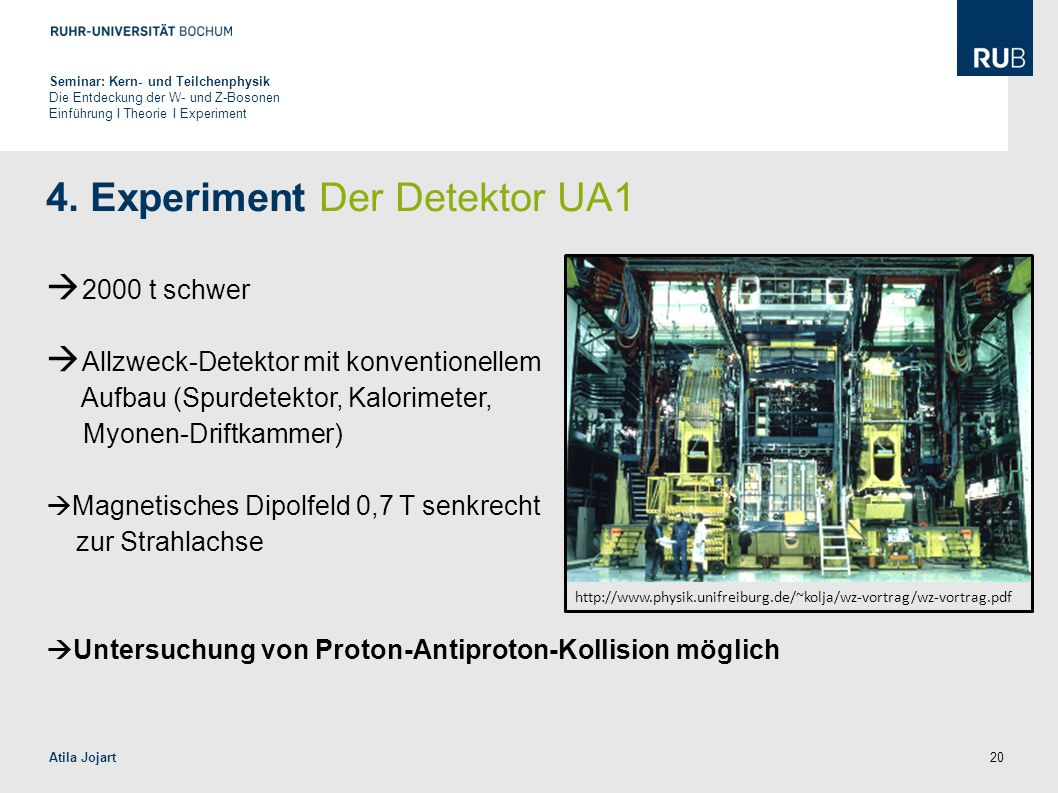 4. Experiment Der Detektor UA1