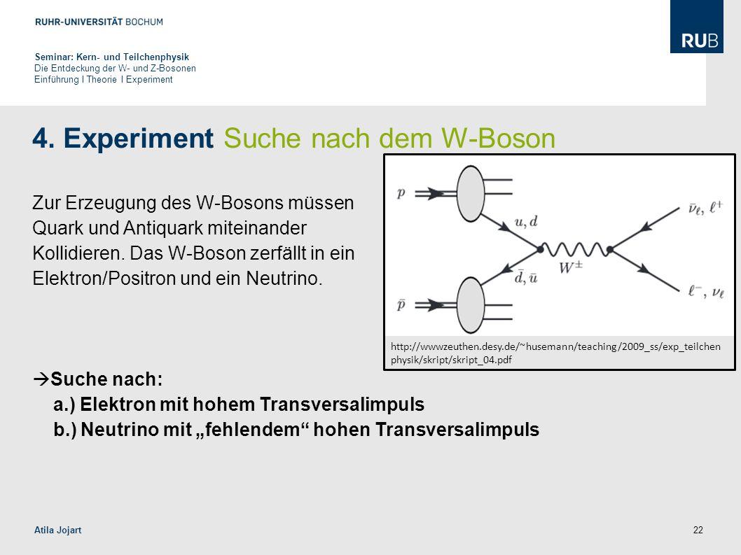 4. Experiment Suche nach dem W-Boson