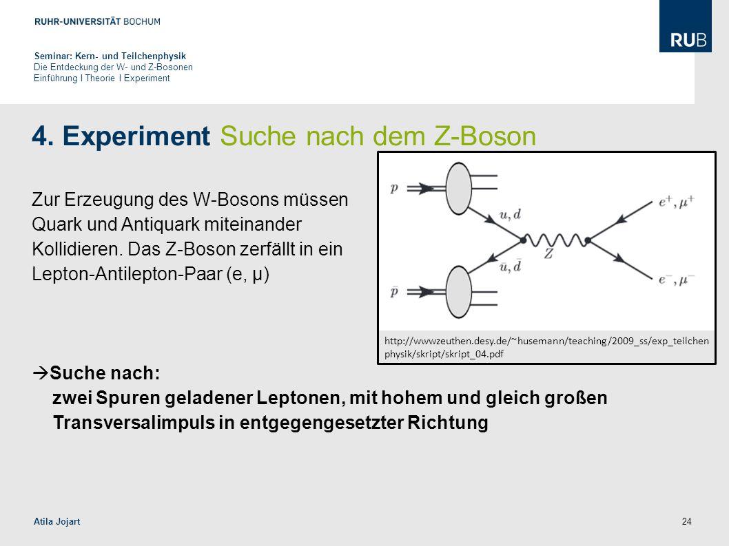 4. Experiment Suche nach dem Z-Boson