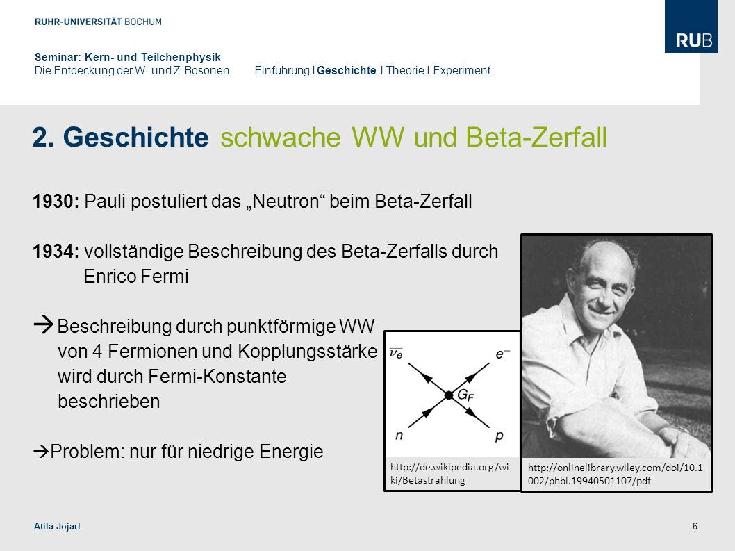 2. Geschichte schwache WW und Beta-Zerfall
