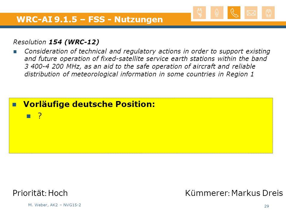 WRC-AI 9.1.5 – FSS - Nutzungen