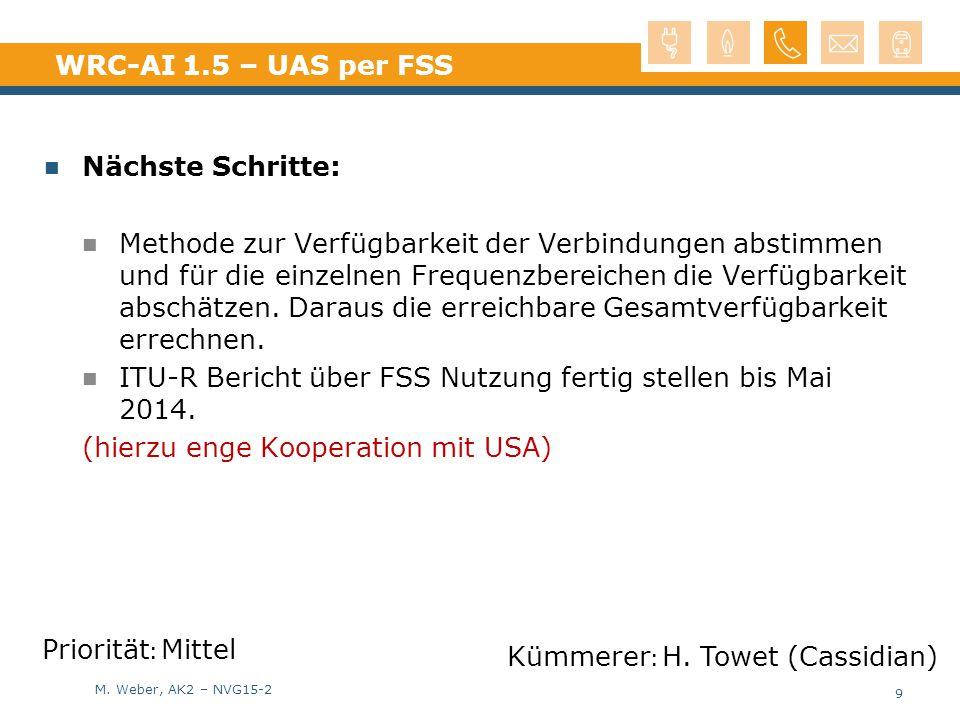 WRC-AI 1.5 – UAS per FSS Nächste Schritte: