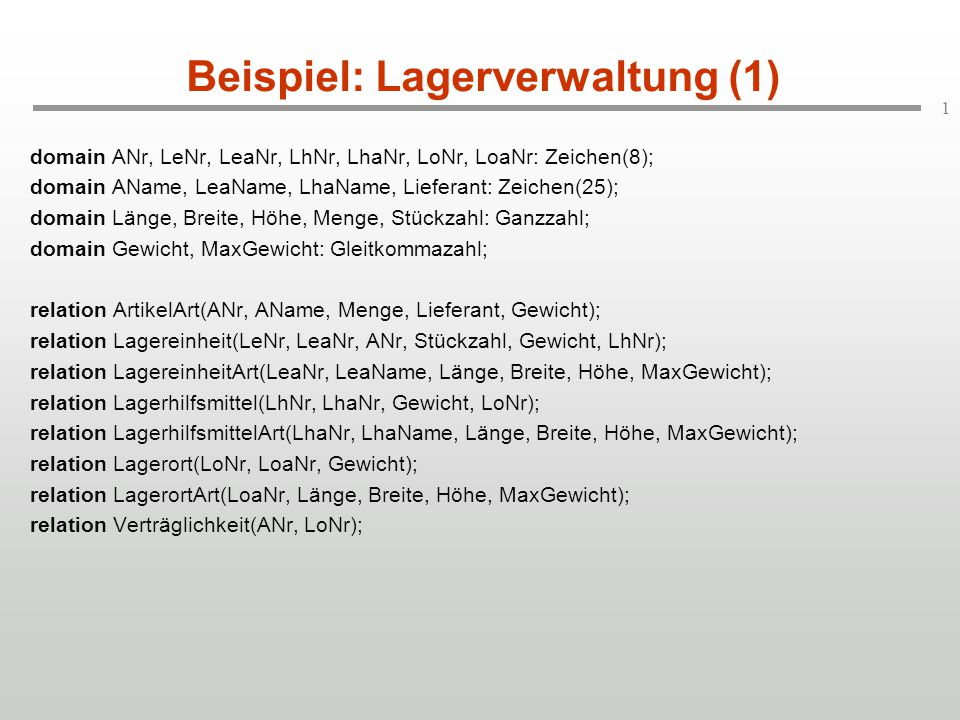 Beispiel: Lagerverwaltung (1)
