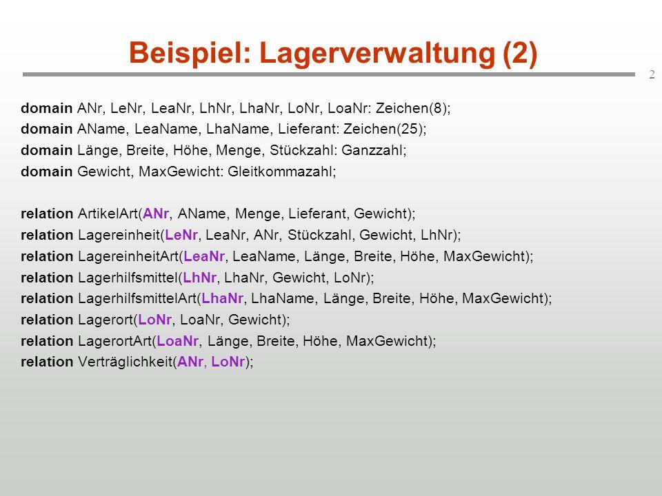 Beispiel: Lagerverwaltung (2)