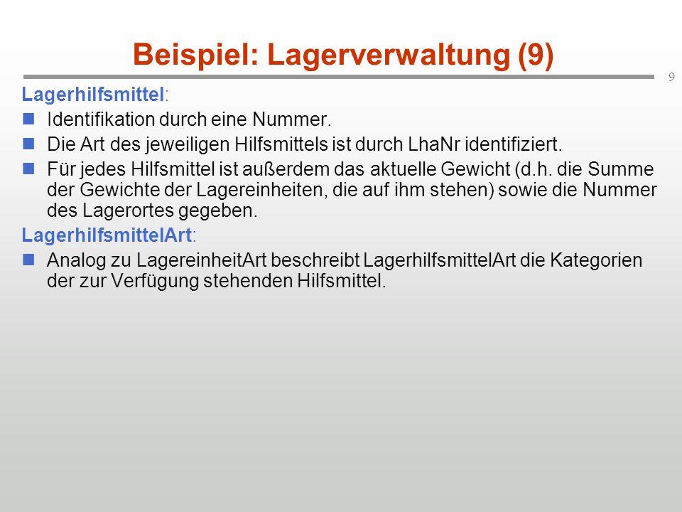 Beispiel: Lagerverwaltung (9)