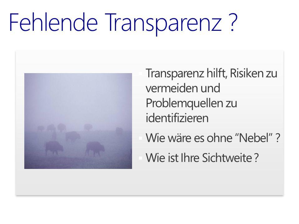 Fehlende Transparenz Transparenz hilft, Risiken zu vermeiden und Problemquellen zu identifizieren.
