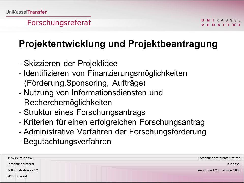 Projektentwicklung und Projektbeantragung