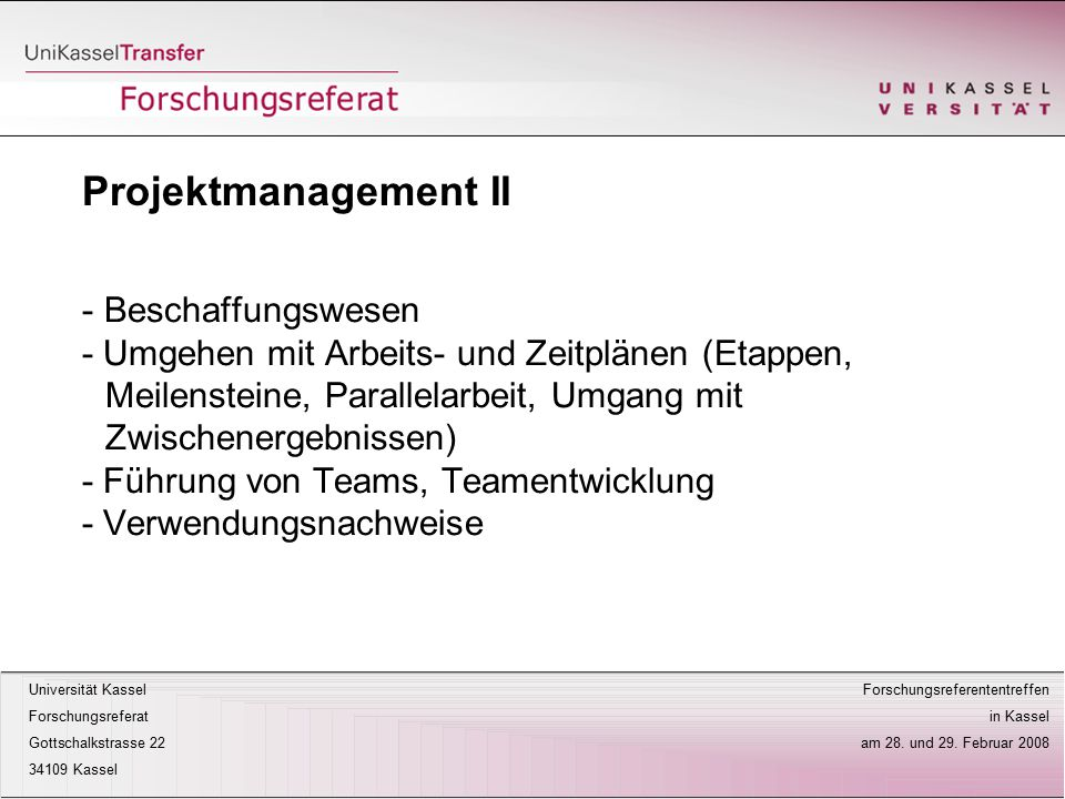 Projektmanagement II