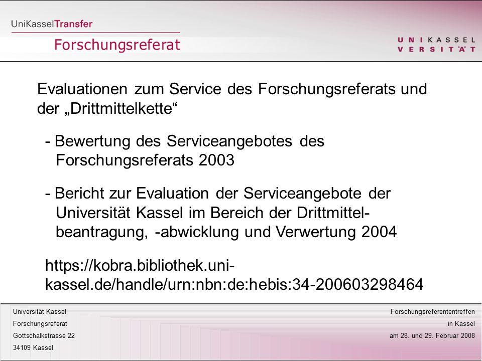 """Evaluationen zum Service des Forschungsreferats und der """"Drittmittelkette"""