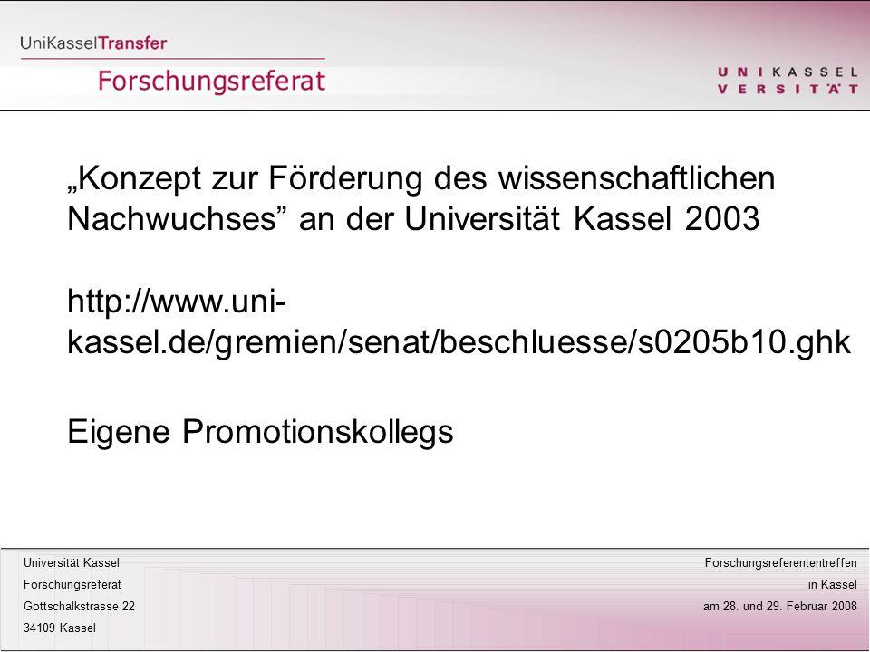 """""""Konzept zur Förderung des wissenschaftlichen Nachwuchses an der Universität Kassel 2003"""