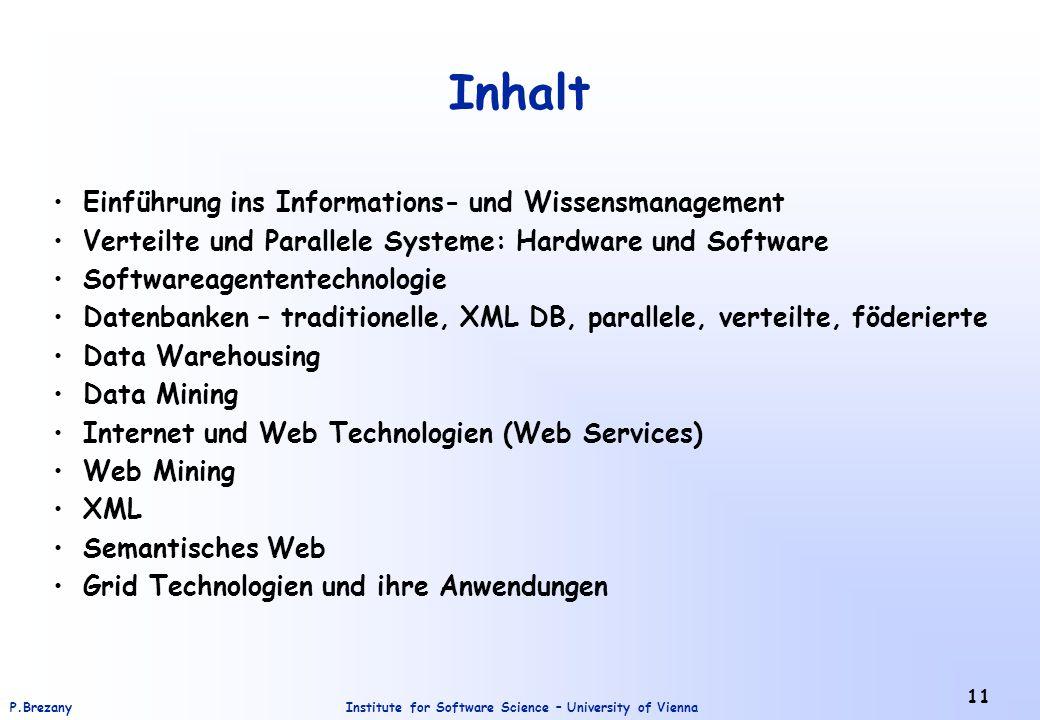 Inhalt Einführung ins Informations- und Wissensmanagement