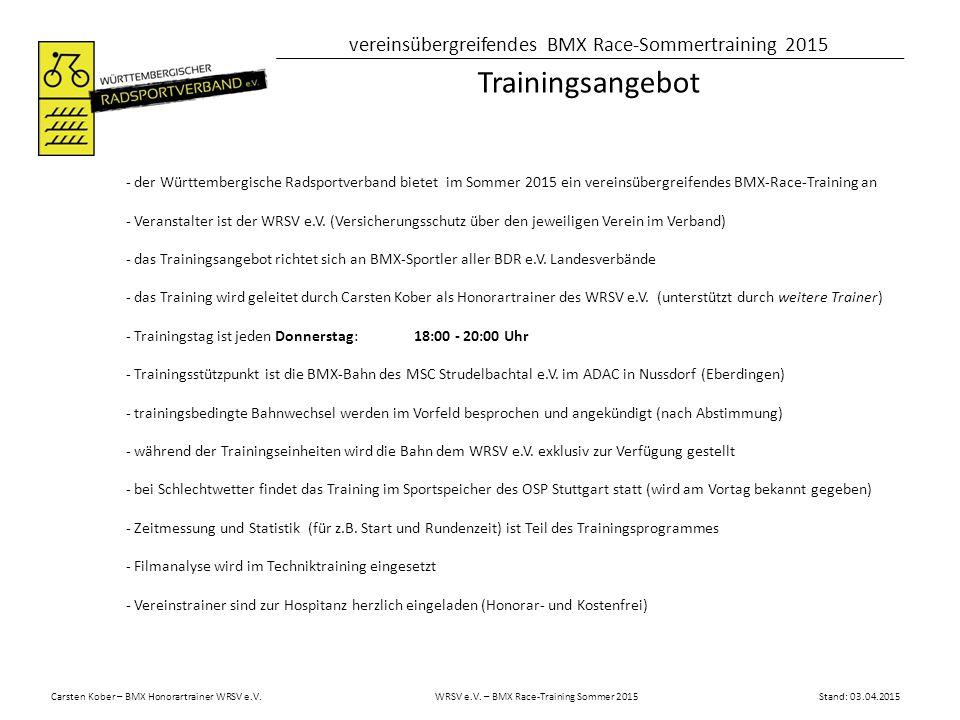 Trainingsangebot - der Württembergische Radsportverband bietet im Sommer 2015 ein vereinsübergreifendes BMX-Race-Training an.