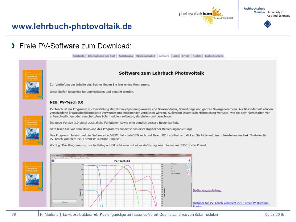 www.lehrbuch-photovoltaik.de Freie PV-Software zum Download: