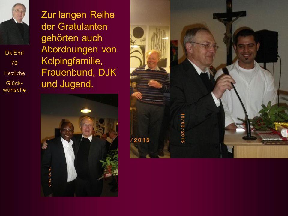 Zur langen Reihe der Gratulanten gehörten auch Abordnungen von Kolpingfamilie, Frauenbund, DJK und Jugend.
