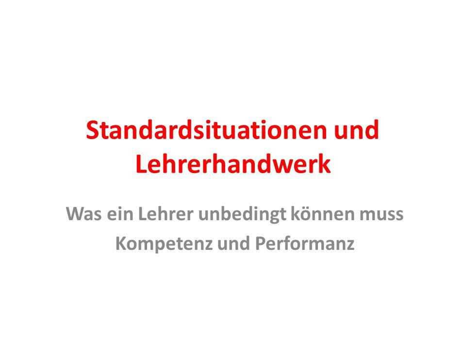 Standardsituationen und Lehrerhandwerk