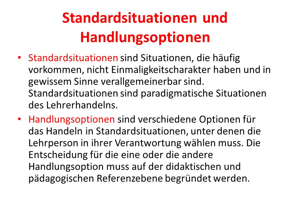 Standardsituationen und Handlungsoptionen