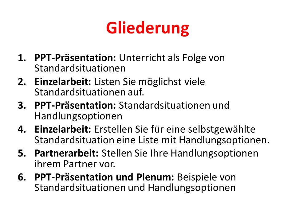 Gliederung PPT-Präsentation: Unterricht als Folge von Standardsituationen. Einzelarbeit: Listen Sie möglichst viele Standardsituationen auf.
