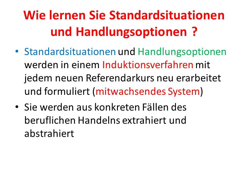 Wie lernen Sie Standardsituationen und Handlungsoptionen