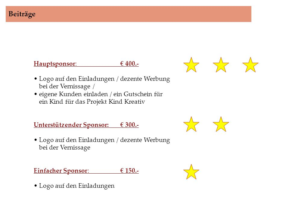 Beiträge Hauptsponsor: € 400.-