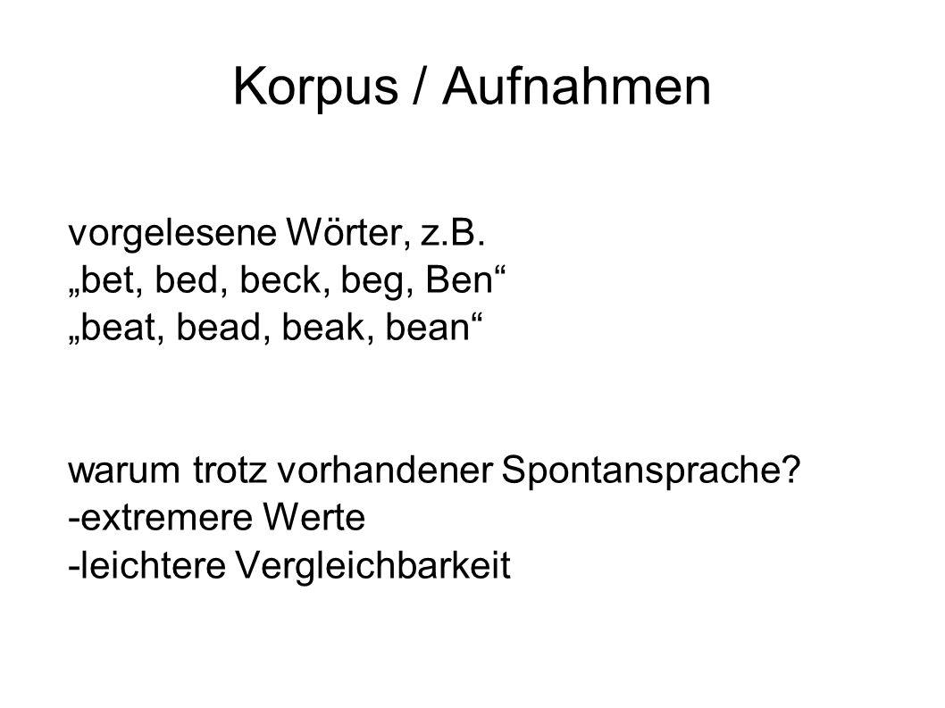 """Korpus / Aufnahmen vorgelesene Wörter, z.B. """"bet, bed, beck, beg, Ben"""