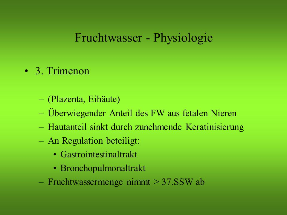 Fruchtwasser - Physiologie