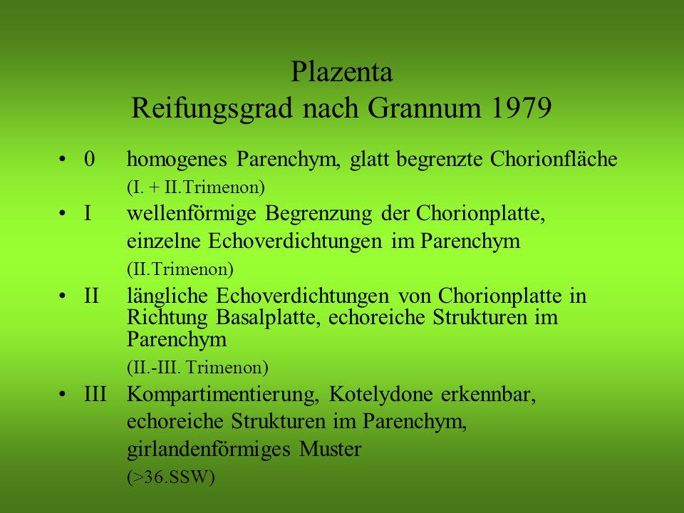 Plazenta Reifungsgrad nach Grannum 1979