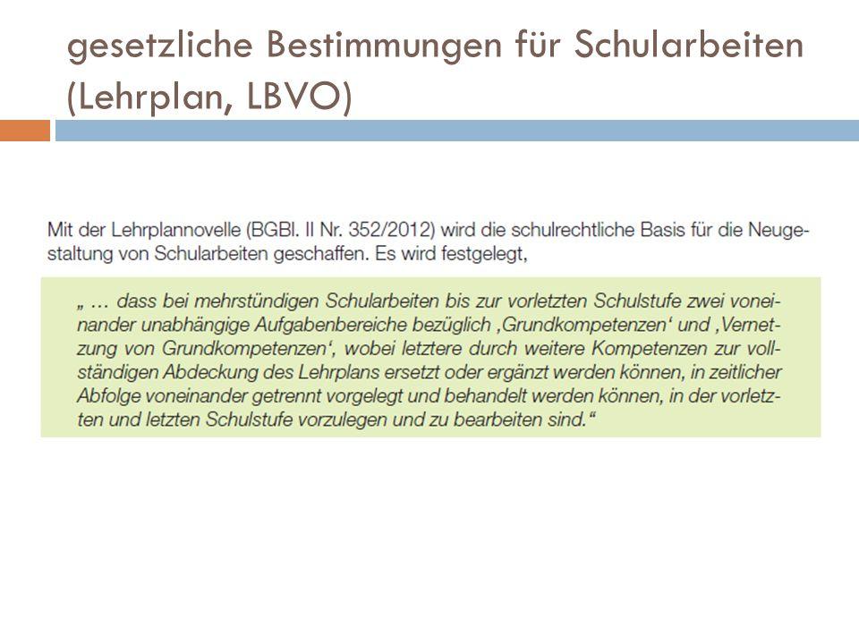 gesetzliche Bestimmungen für Schularbeiten (Lehrplan, LBVO)