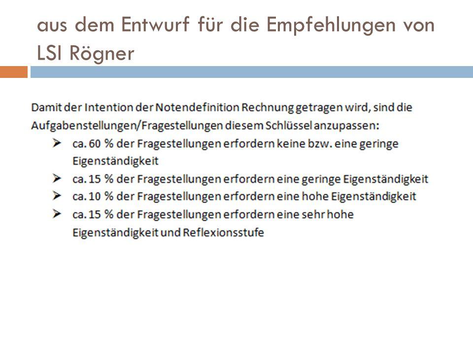 aus dem Entwurf für die Empfehlungen von LSI Rögner
