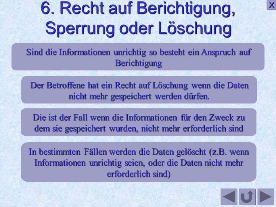 6. Recht auf Berichtigung, Sperrung oder Löschung
