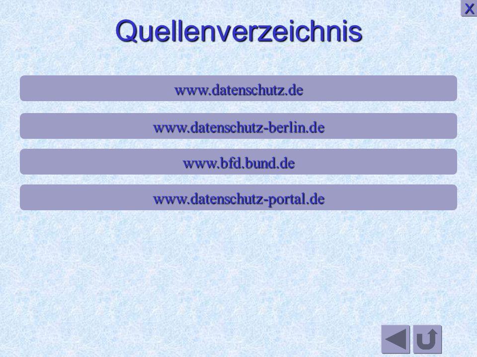 Quellenverzeichnis X www.datenschutz.de www.datenschutz-berlin.de