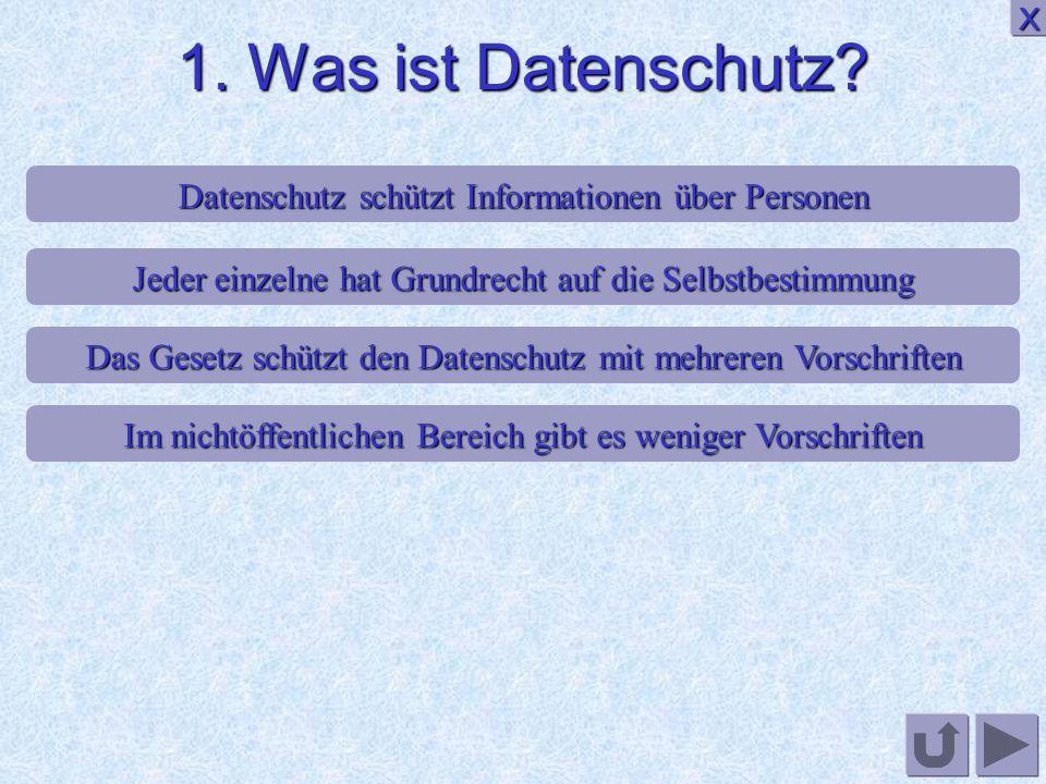 1. Was ist Datenschutz X. Datenschutz schützt Informationen über Personen. Jeder einzelne hat Grundrecht auf die Selbstbestimmung.