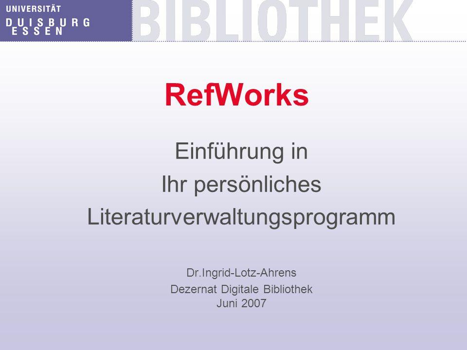 Was kann RefWorks