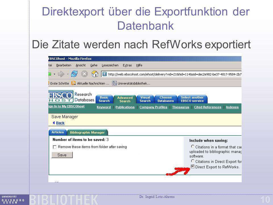 Direktimport Die gewünschten Daten wurden in RefWorks importiert