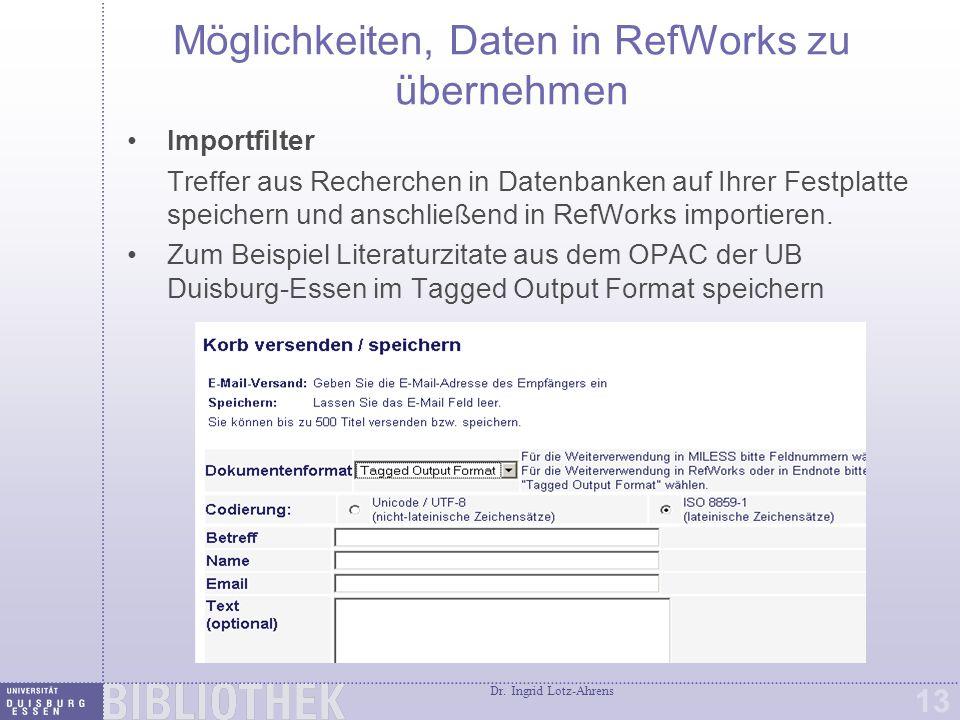 Import in RefWorks über Importfilter